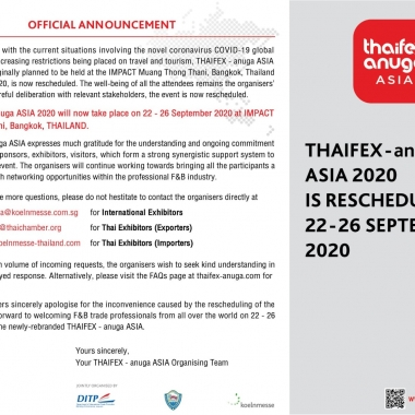 THAIFEX – anuga ASIA 2020 IS RESCHEDULED TO 22 – 26 SEPTEMBER 2020