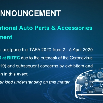 TAPA IS RESCHEDULED TO 3 – 6 September 2020.